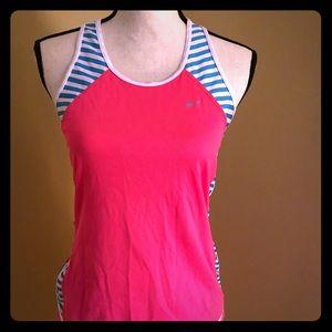 Pink and blue Nike women's running shorts set